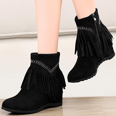 盾狐 流蘇短靴女 新款秋冬女鞋中筒靴 平底內增高短筒靴子女 啟隆19-51