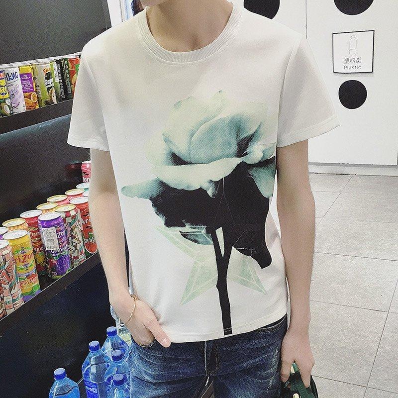 t303# 夏季新款男装荷花图案短袖t恤 超市