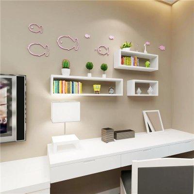 一字隔板简易书架收纳架墙上置物架层板架托架壁挂-酷森简易衣柜衣