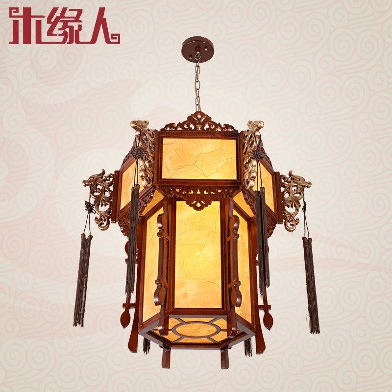 木缘人 新中式吊灯实木雕花仿古灯笼龙头宫灯饭店餐厅