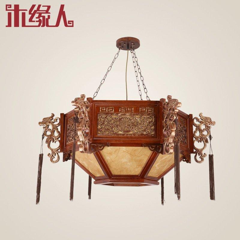 木缘人 新中式吊灯中式宫灯实木镂空雕花复古灯笼客厅图片