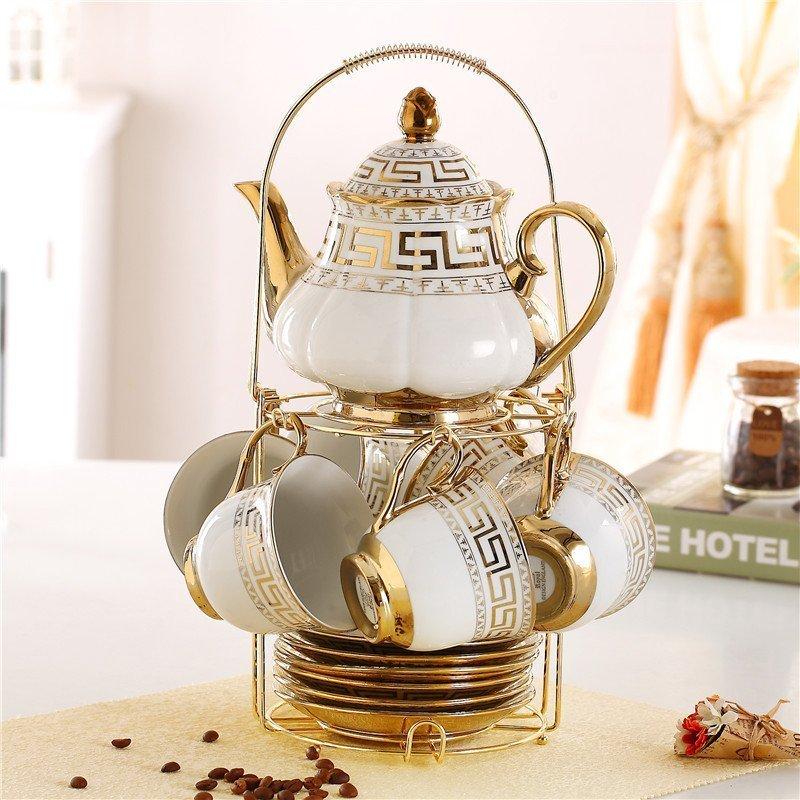 陶瓷咖啡杯具 牛奶杯欧式茶具套装6杯带泡茶壶过滤孔送不锈钢架子图片