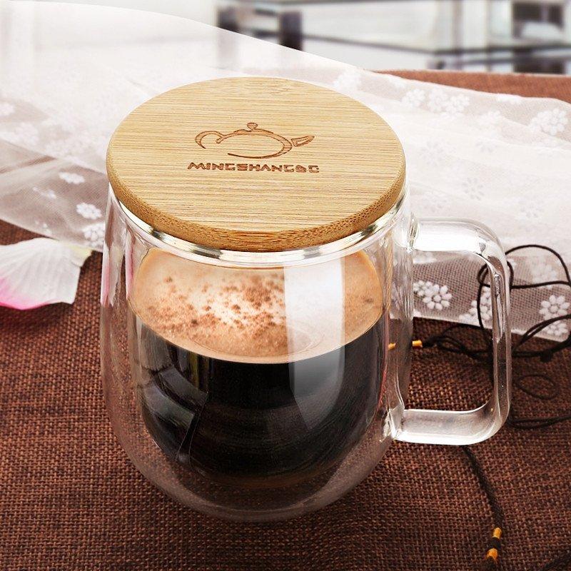 带木盖双层玻璃杯透明耐热杯子咖啡杯办公水杯带把