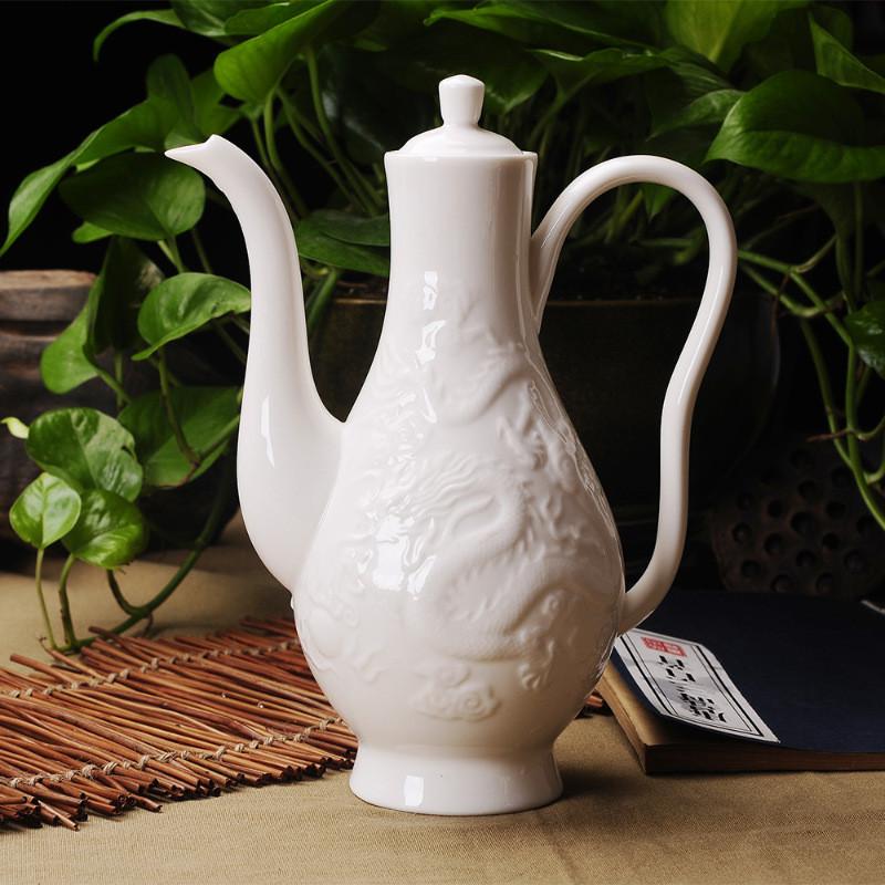 徐健 景德镇陶瓷酒具套装中式浮雕龙酒具传统倒酒壶高脚杯白酒杯酒壶