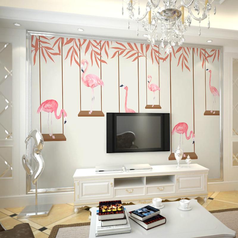 徐健 大型壁画电视背景墙壁纸壁画 客厅卧室现代简约手绘火烈鸟