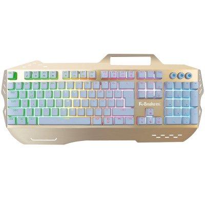 蝰蛇t10 白轴机械键盘有线网吧彩色背光游戏键盘有线悬浮式按键金属键