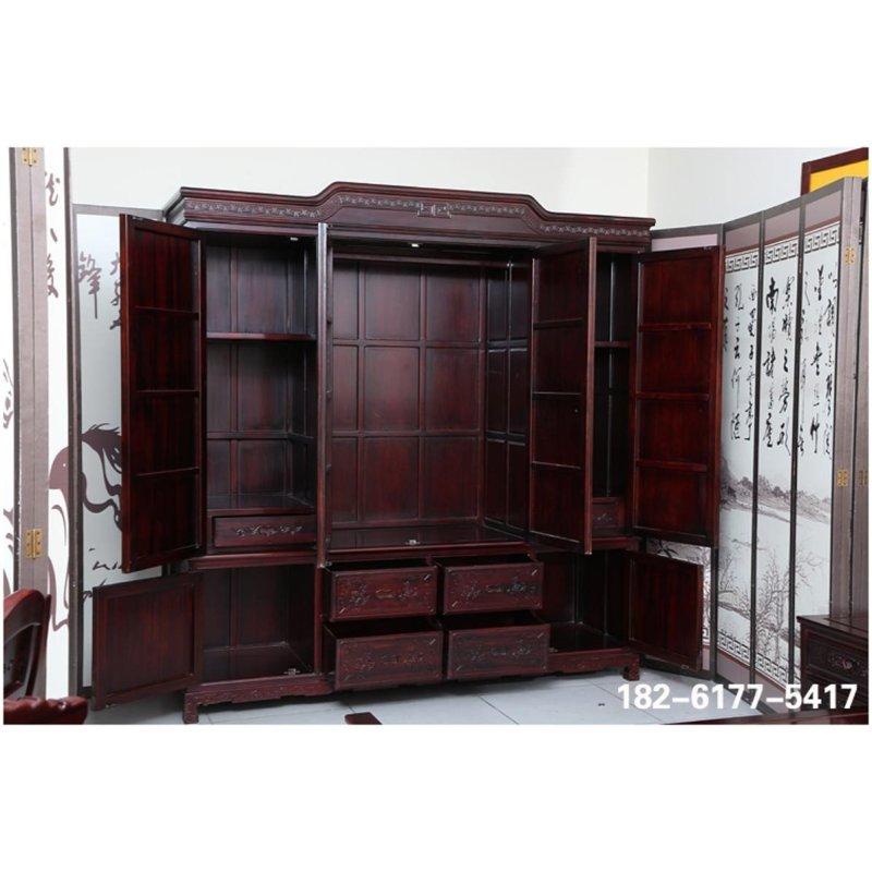 御轩林红木家具 明清古典卧室红木衣柜家具 南美酸枝木大衣柜 山水储