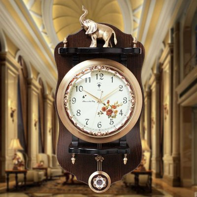 北极星(POLARIS) 黄铜欧式仿古客厅挂钟创意时尚摆钟壁钟美式家用石英钟表复古静音田园大挂表时钟