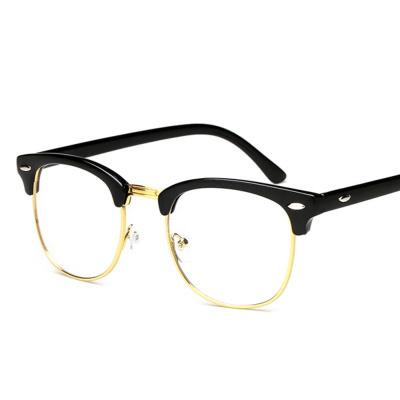 依岚傲雪复古眼镜框韩版平光镜女明星款半框近视眼镜架男圆脸防辐射个性潮