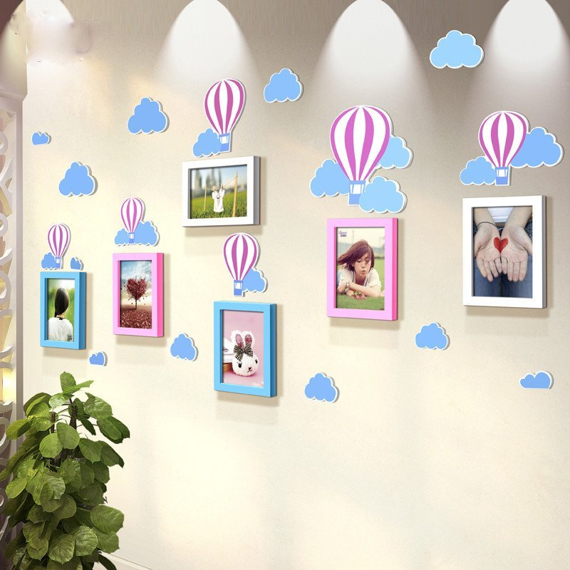 沐坤 气球立体墙贴画 7寸实木照片墙儿童房幼儿园生活
