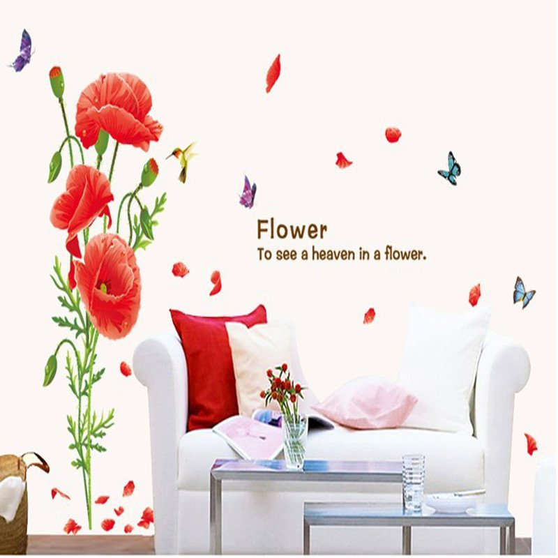 沐坤 可移除墙贴纸 客厅沙发电视背景墙壁画 卧室床头装饰画 女人花