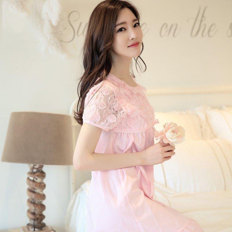 韩版闺蜜纯棉布夏季睡裙女短袖甜美可爱玫瑰花公主睡衣短裙家居服