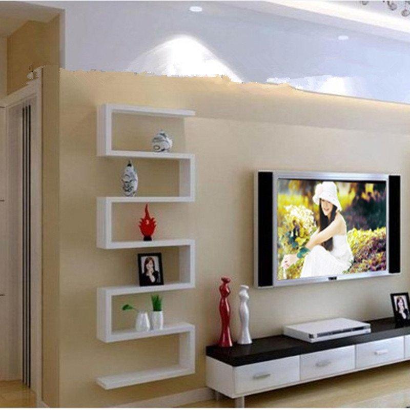 苏鼎简约搁板 创意造型置物架 电视背景墙 装饰架 书架 收纳层架 可