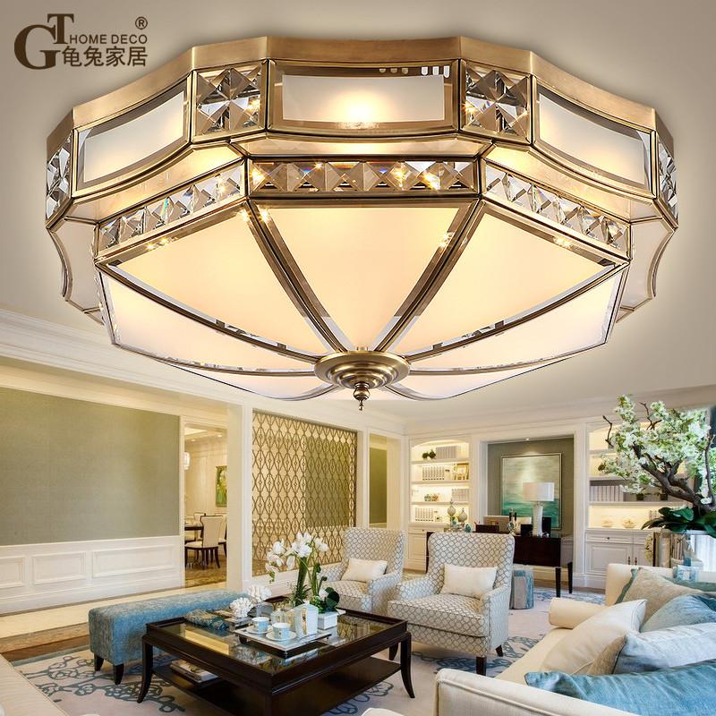 欧式吸顶灯卧室客厅灯具大气美式全铜吸顶灯餐厅灯led铜灯新中式
