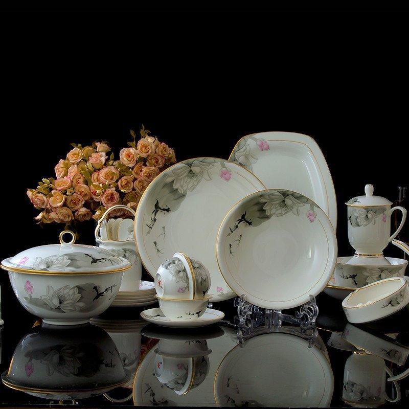 景德镇 陶瓷餐具套装 手绘描金 碗碟盘家用礼品餐具60图片