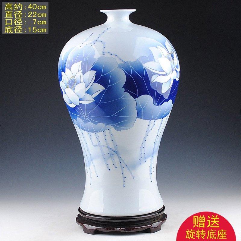 景德镇陶瓷器 名家手绘青花瓷花瓶石榴瓶 客厅摆件 收藏