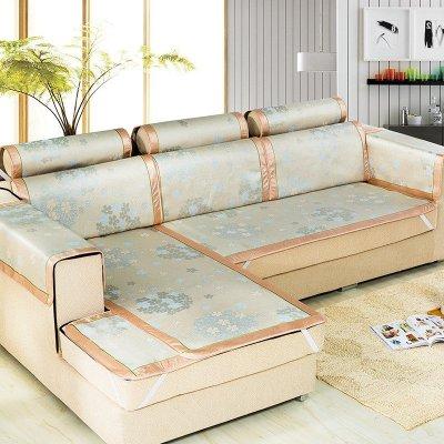黎优家纺 夏季冰丝凉席沙发垫简约现代夏凉垫坐垫皮沙发套巾罩绑带