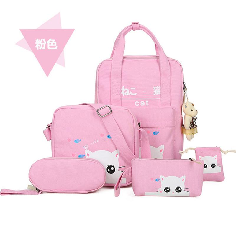 2017韩版学生书包可爱手提包猫咪原宿风学生双肩包六件套手提背包