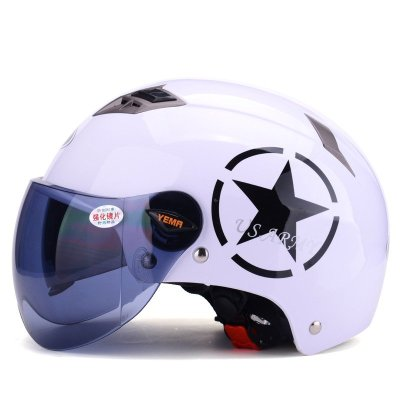 野马329四季电动摩托车头盔男 半覆式电动车安全帽女 夏季双镜片哈雷半盔