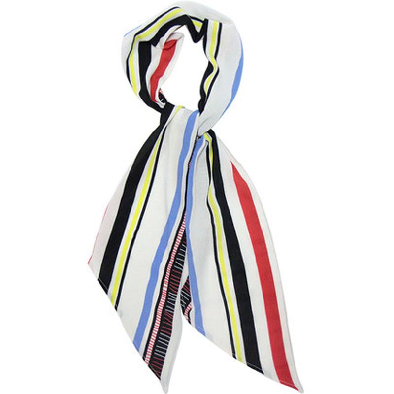 2017年秋季女士小领巾腰带绑包装饰围巾百搭时尚条纹细窄长条飘带丝巾
