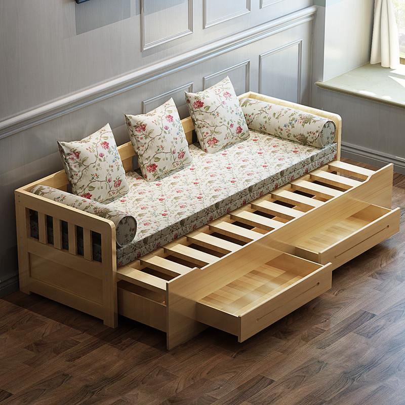 金日安正 客厅全实木沙发床 双人床 单人床 可折叠床 多功能床 两用床