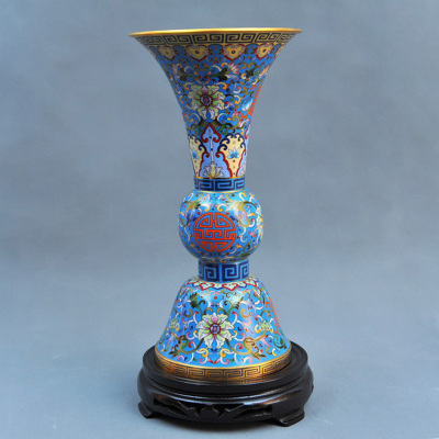 中工美 工藝品 景泰藍 小花觚瓶 北京禮物送外賓