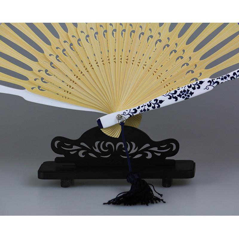 中工美 王星记扇子真丝绢扇中国风女式礼品折扇青花瓷