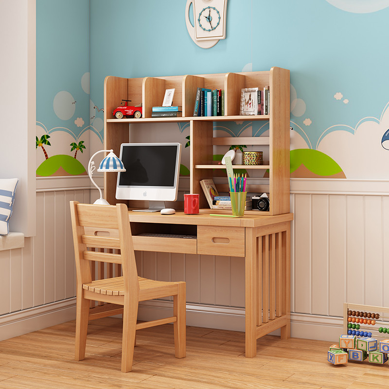 榉木全实木书桌 简易书架组合书柜直角电脑桌写字台