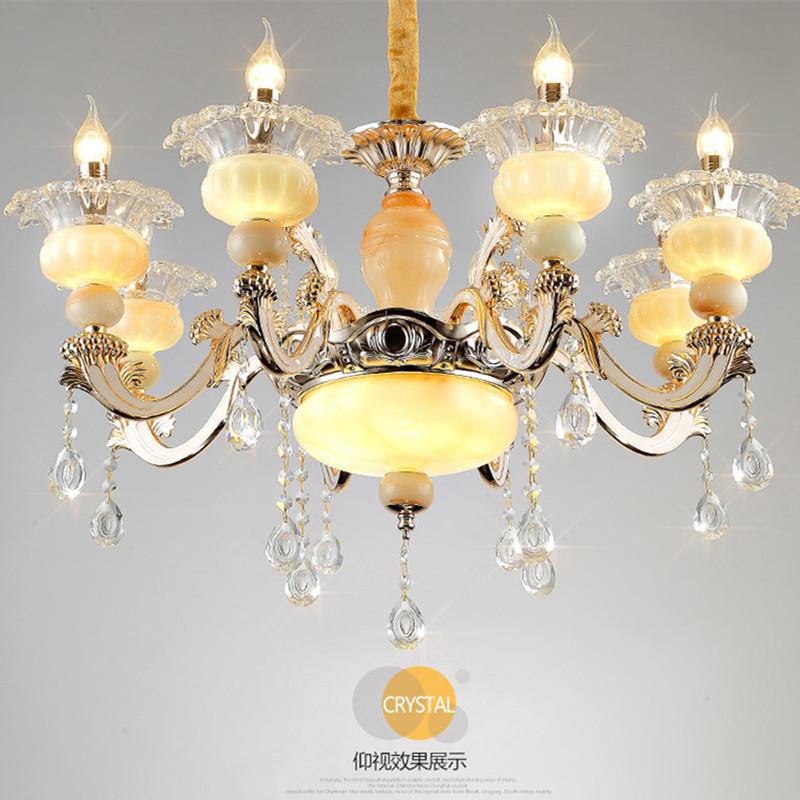 欧式吊灯锌合金玉石灯具金童玉女水晶吊灯卧室灯组合客厅灯具套餐