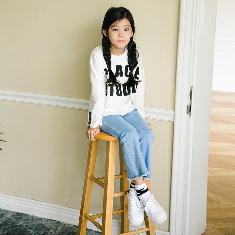 女童秋装新款字母宽松长袖儿童女装4-6-8-10-13岁中大童装小女孩t恤衫