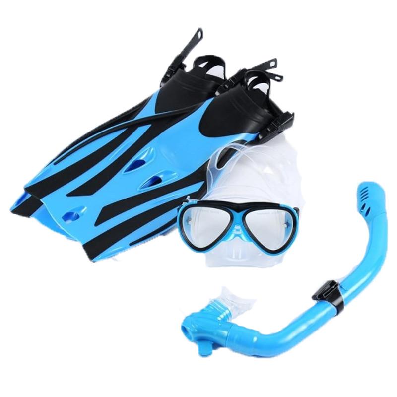 户外运动儿童浮潜套装潜水三宝游泳眼镜 泳镜 潜水3件套 呼吸管 脚蹼