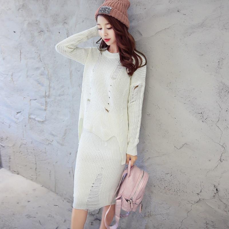 b2016秋冬新款女士纯色长袖针织衫 针织半身裙套装 文艺范圆领套头