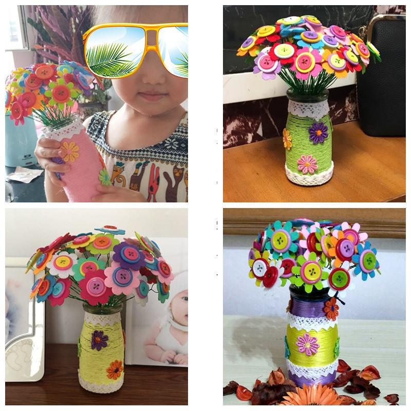 五瓣花儿童手工玩具 纽扣花束幼儿园宝宝手工diy制作材料包扣子画