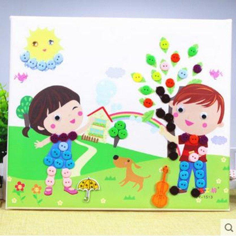 木质相框 diy纽扣画 儿童手工制作 幼儿园扣子粘贴画玩具 闹钟