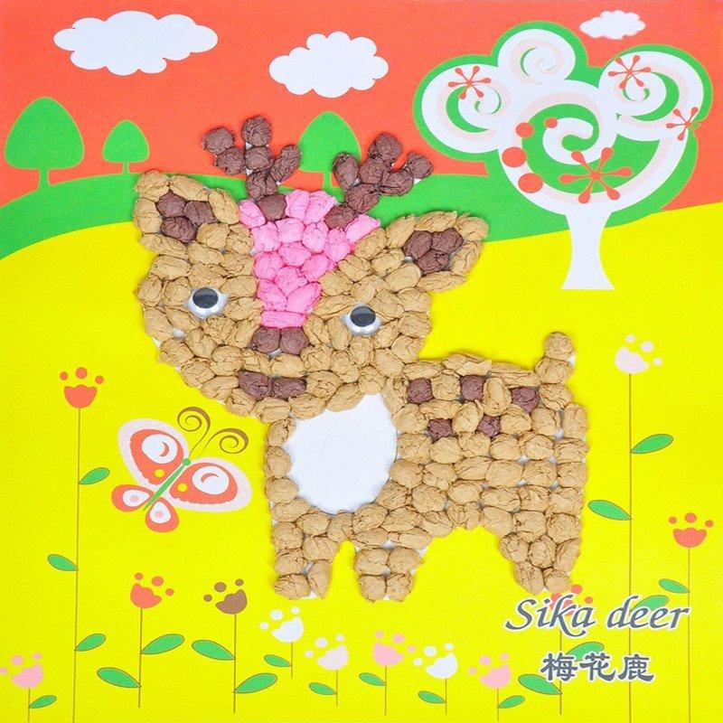众慧宝 儿童卡通手工创意diy搓纸画揉纸画幼儿园手工制作材料 梅花鹿