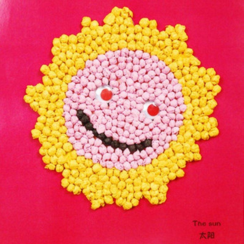 众慧宝 手揉纸搓纸画儿童手工制作材料包diy创意粘贴画智力玩具 太阳