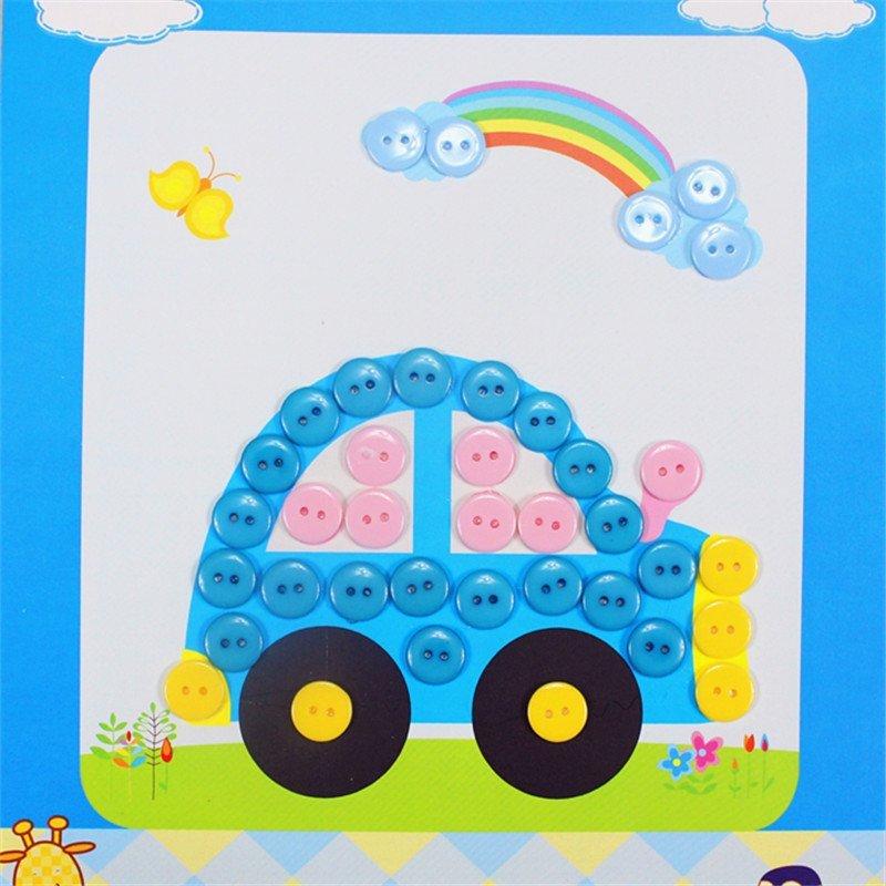 diy纽扣画 儿童手工制作幼儿园粘贴画装饰画玩具 王子款 小汽车图案一