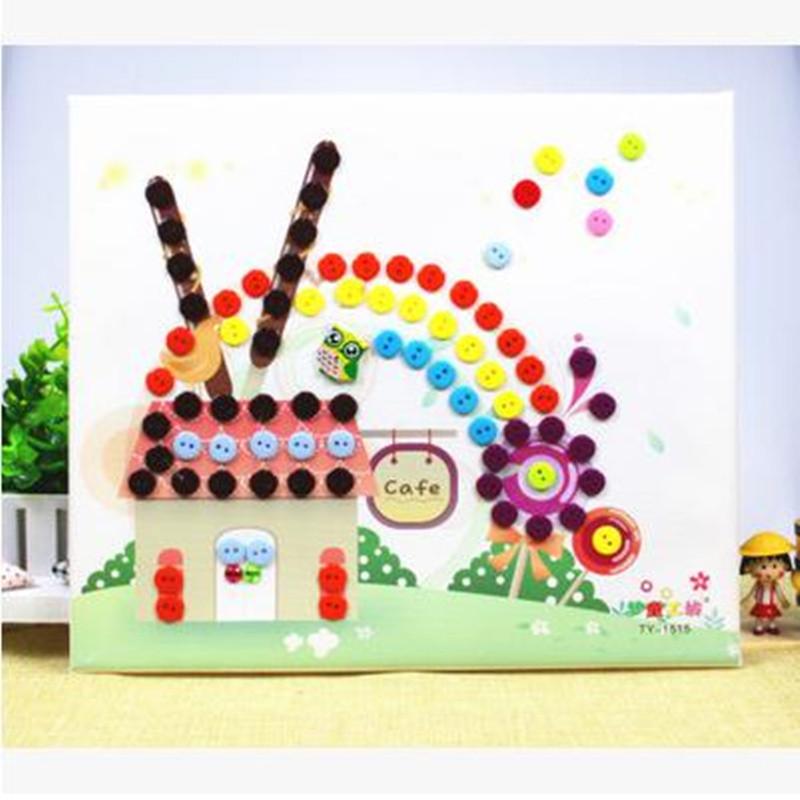 梦童工坊 木质相框 diy纽扣画 儿童手工制作 幼儿园扣子粘贴画玩具 小