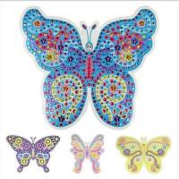 蝴蝶彩钻马赛克 eva闪光贴画幼儿园创意手工制作 共4款可选 黄色蝴蝶图片