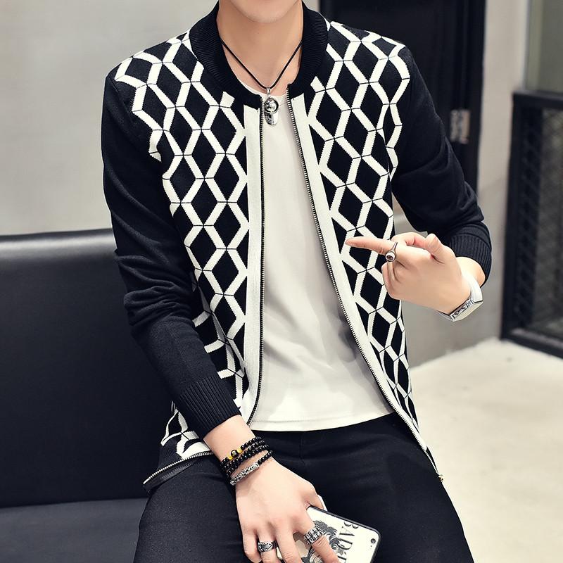 克林科斯原创韩版男士针织衫夹克外套立领修身潮毛衣开衫星座204-m313