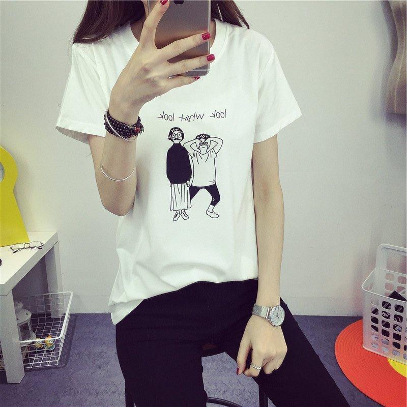 天佳丽夏季女装卡通创意t恤学生可爱短袖宽松大码百搭