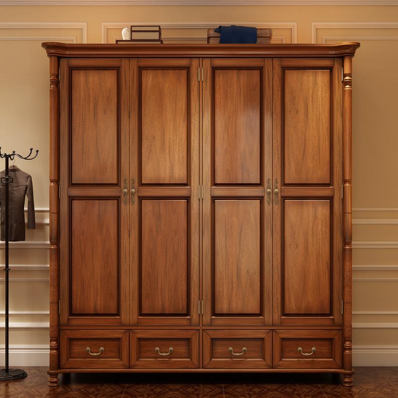 极+实木衣柜 美式乡村全实木四门衣柜 简美大衣橱 卧室欧式四门衣橱