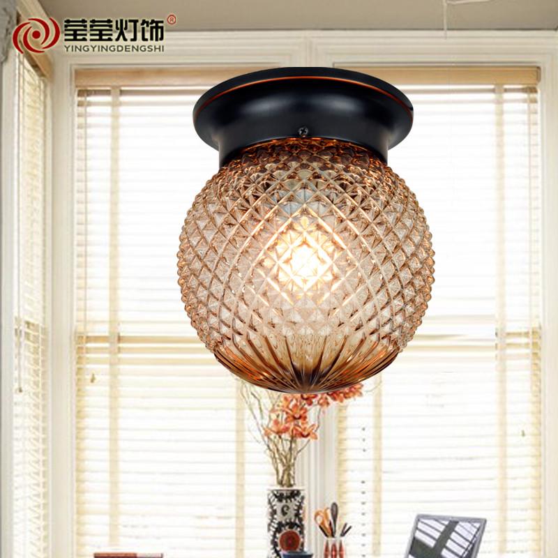 莹莹灯饰菠萝吸顶灯水晶玻璃欧式灯美式灯玄关灯过道