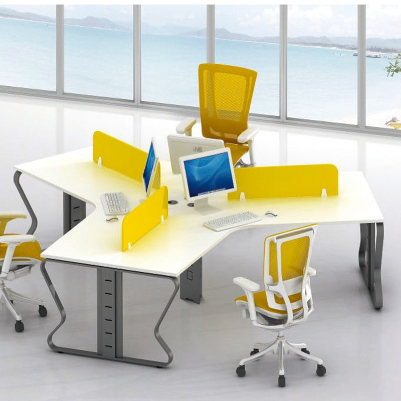 优发办公家具 弧形三人位办公电脑桌 职员隔断电脑桌