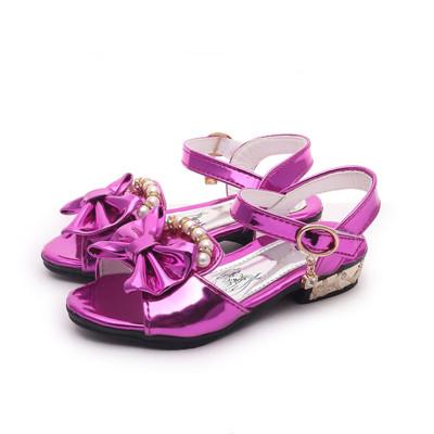 宏浩 女童水晶鱼嘴凉鞋4 5 8 10岁6小孩7高跟鞋女孩子小朋友夏天公主