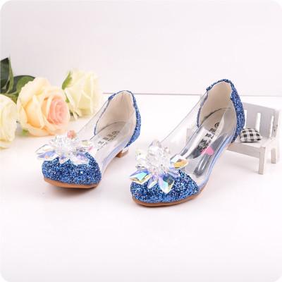 宏浩 春秋大童单鞋皮鞋水钻表演鞋儿童灰姑娘水晶鞋公主高跟鞋女童