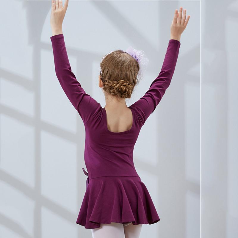 儿童舞蹈服装 女童芭蕾练功服舞裙 长袖连体 幼儿考级