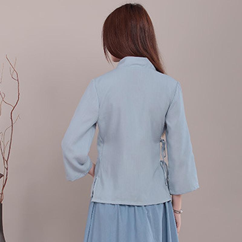 中国风手绘改良汉服中式棉麻女士上衣茶民国风艺师服装表演服女