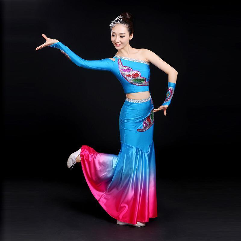 傣族舞蹈服装2017新款民族孔雀舞表演服修身少数民族演出服女成人