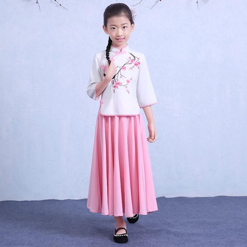 六一民国小女孩幼儿童宝宝五四学生唐装汉服舞蹈古筝演出国学服装